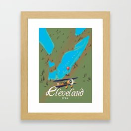 Cleveland,Ohio Travel poster art print Framed Art Print