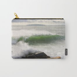 Large Crashing Waves Seascape Acadia National Park Photo Print  Carry-All Pouch
