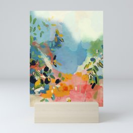 garden with sea view and olive tree Mini Art Print