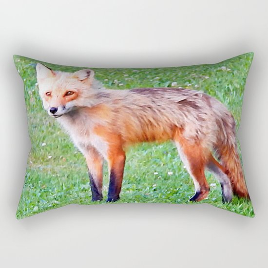 Red Fox in a Yard Rectangular Pillow