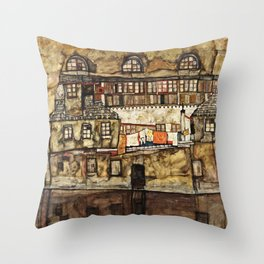 Egon Schiele - House Wall On The River Throw Pillow