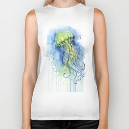 Jellyfish Watercolor Beautiful Sea Creatures Biker Tank
