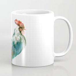 Rooster, Turquoise Blue Brown Kitchen art Coffee Mug