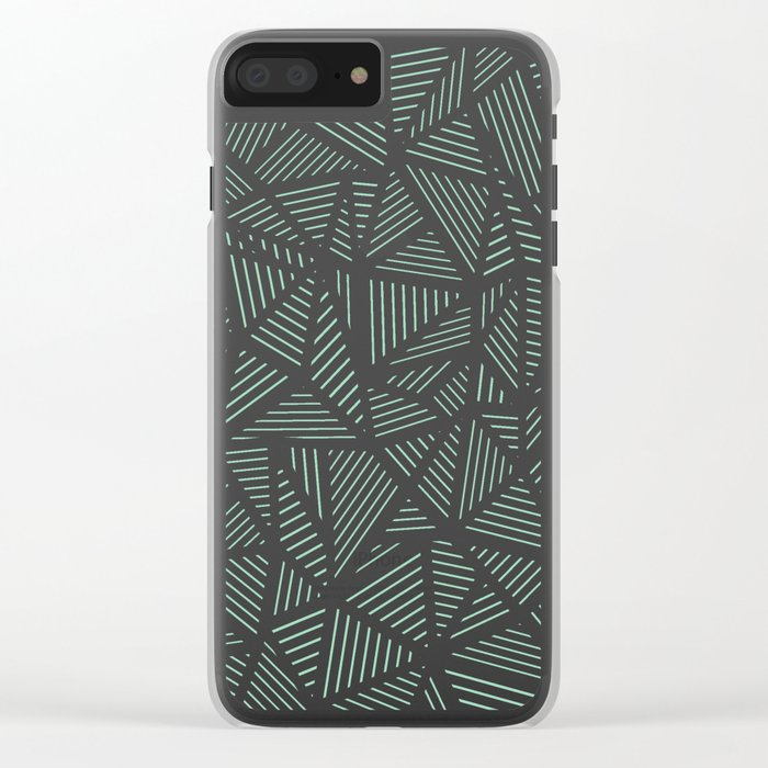Geo Lines Mint Clear iPhone Case