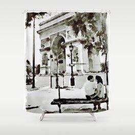 The Arc de Triomphe Paris Black and White Shower Curtain