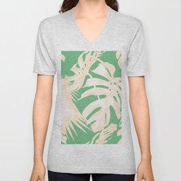 Tropical Coral Green Palm Leaf Pattern Unisex V-Neck