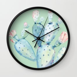 Rose Desert Cactus Light Mint Green by Nature Magick Wall Clock
