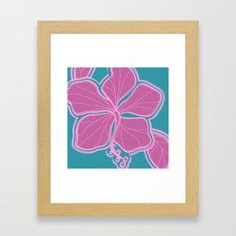 Kailua Hibiscus Hawaiian Sketchy Floral Design Framed Art Print