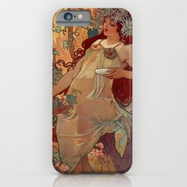 1896 AUTUMN Fall - 4 Seasons Alphonse Mucha Art Nouveau Goddess Vintage Lithograph French AUTOMNE Beauty Nature Art Wall Hanging Decor Print iPhone Case