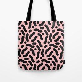 Black and Pastel Pink Squiggle Pattern Tote Bag