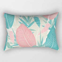 Tropical Palm Leaves, PinkTurquoise,Seashells Rectangular Pillow