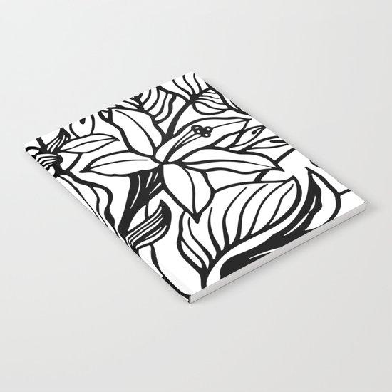 White Black Floral Minimalist Notebook