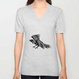 Raven Flying Side Tattoo Unisex V-Neck