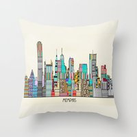 memphis Throw Pillows featuring Memphis city by bri.buckley