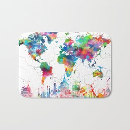 world map watercolor collage Bath Mat