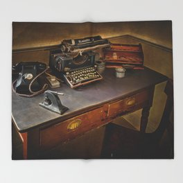 Vintage Writers Corner Throw Blanket