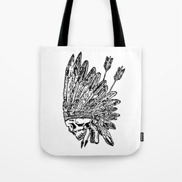 Indian chief skull head Tote Bag