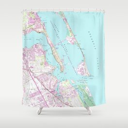 Vintage Map of Port St Lucie Inlet (1948) Shower Curtain
