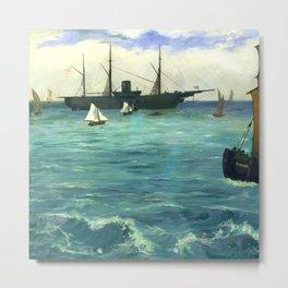 "Édouard Manet ""The Kearsarge at Boulogne"" Metal Print"