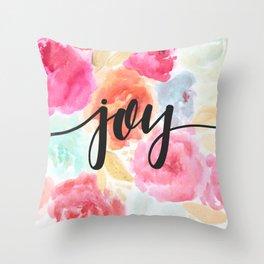 Watercolor Floral Joy Throw Pillow