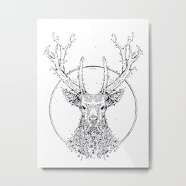 Flowers and Stag [Monochrome] Metal Print
