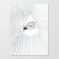 all seeing eye Canvas Prints featuring All Seeing Eye by Rachel Hoffman