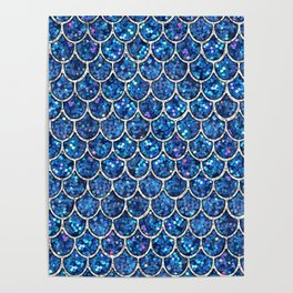 Sparkly Blue & Silver Glitter Mermaid Scales Poster