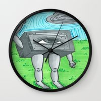 technology Wall Clocks featuring Technology life by Diane McGregor Art