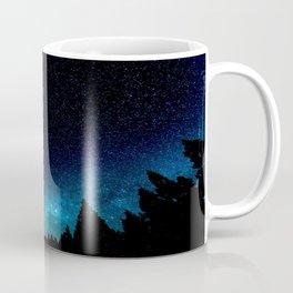 Black Trees Turquoise Milky Way Stars Coffee Mug
