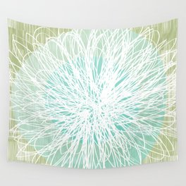 Doodle Flowers in Mint by Friztin Wall Tapestry