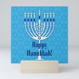 Happy Hanukkah Lit Menorah Mini Art Print