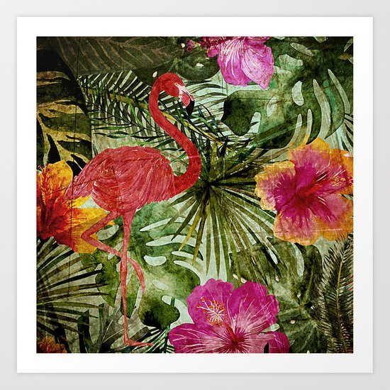 Tropical Vintage Exotic Jungle- Floral and Flamingo watercolor pattern on #Society6 Art Print