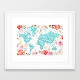 Floral watercolor world map in aquamarine blue Framed Art Print