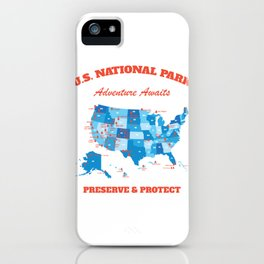 U.S National Parks Map Hiker Camper Summer Vacation iPhone Case