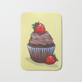 Chocolate Cupcake With Strawberries on Yellow Backgound Bath Mat