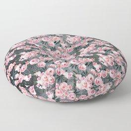Night Rose Garden Pattern Floor Pillow