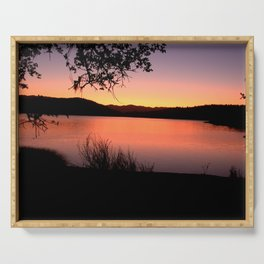 LAKE HENNESSEY - NAPA CALIFORNIA - SUNSET REFLECTION Serving Tray