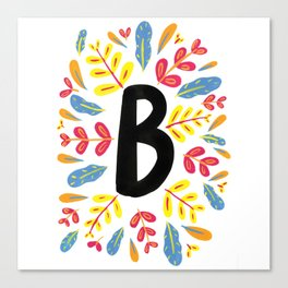 Letter 'B' Initial/Monogram With Bright Leafy Border Canvas Print