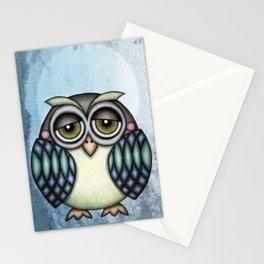 Owl illustration drawing Stationery Cards