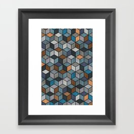 Colorful Concrete Cubes - Blue, Grey, Brown Framed Art Print