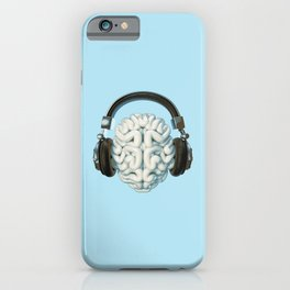 Mind Music Connection /3D render of human brain wearing headphones iPhone Case