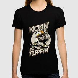 Kickin And Flippin Skateboarding Skateboarder Action Sports Riding Tricks Flips Gift T-shirt