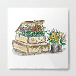Flower Suit Cases Metal Print