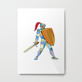 Knight Full Armor With Sword Defending Mosaic Metal Print