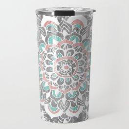 Pastel Floral Medallion on Faded Silver Wood Travel Mug