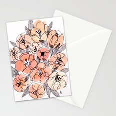 Pink Inky Floral - Watercolor Flowers - Ink Stationery Cards