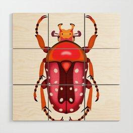 Orange and Red Beetle Wood Wall Art