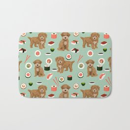 Bichpoo sushi dog breed cute pet portrait pet friendly pattern dog lover gifts Bath Mat