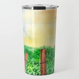 Sunset Landscape Watercolor Travel Mug