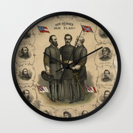 Four versions of the Flags of the Confederacy Wall Clock